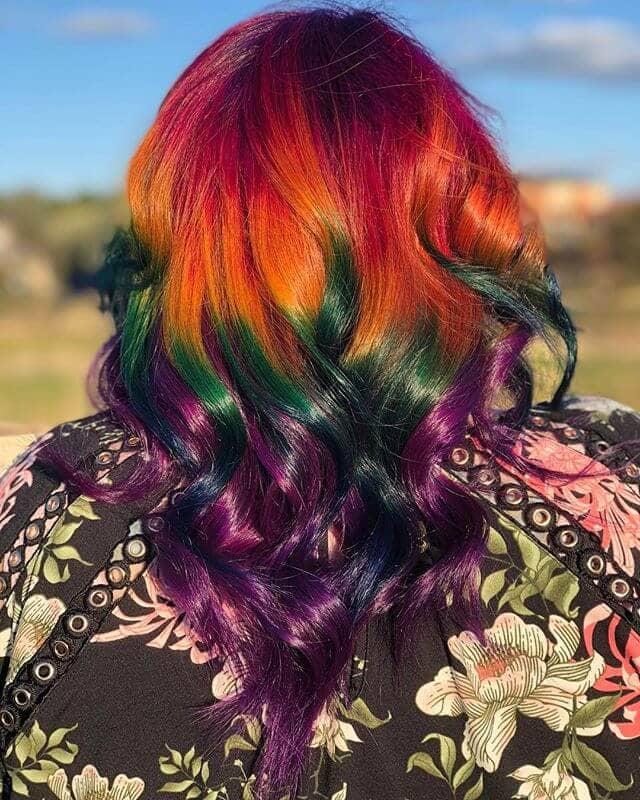 Dark Gem Hues for V-Cut Medium Length Curls