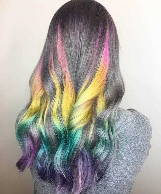 Trendy Warm Gray with Faded Rainbow Bayalage Streaks