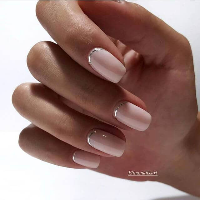 Sweet and Soft Delicate Pretty Silver-Touched Nails