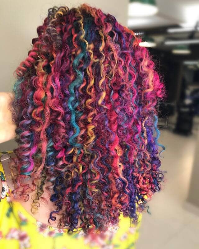 Vibrant and Chunky Jewel Rainbow Tight Spiral Curls