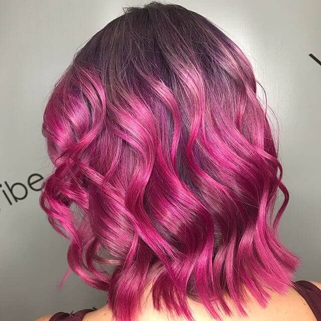 Shocking Pink Cute Curly Style