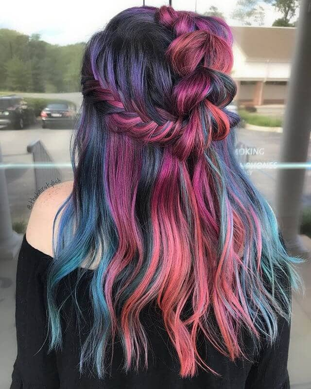 Deep Purple-to-Pink Pull-Through Braid and Crown