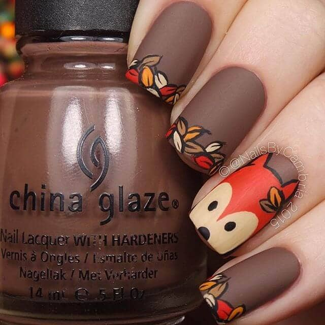 Get Ready for Fall Chocolate Squirrel with Autumn Leaves Cute Nails