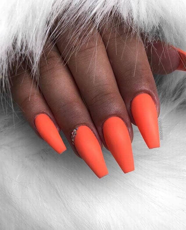 Fabulous Bold Orange Matte Nail Design
