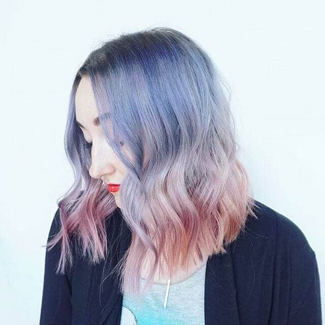 Short Beach Curls with Blue-to-Pink Pastel Ombre