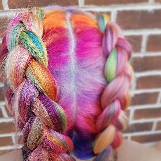 Adorable Dutch Braids for Chunky Neon Rainbow Streaks