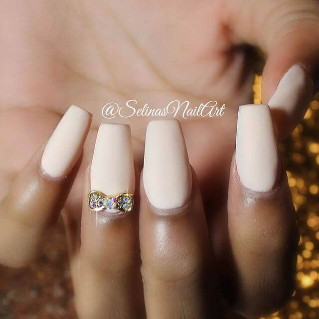 Cute Party Pink Nails with Bowtie Charm