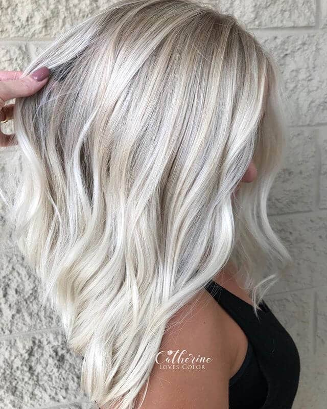 Classic Platinum Blonde Long Bob