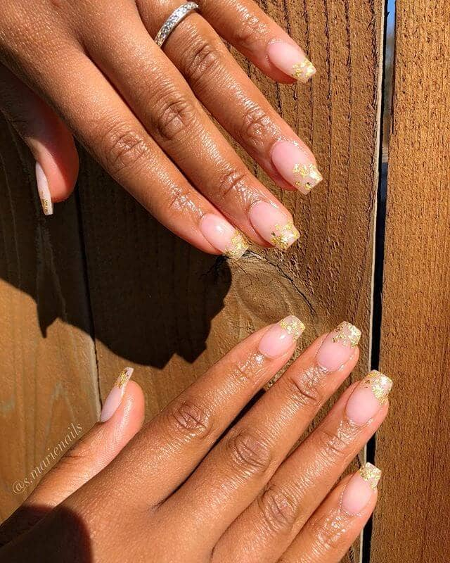 French Manicure Golden Tips