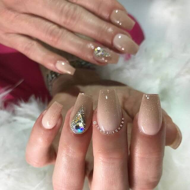 Quietly Glamorous with a Hint of Glitter Cute Nails