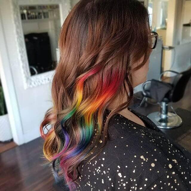 Rich Mahogany V-Cut Curls with Rainbow Highlight Burst