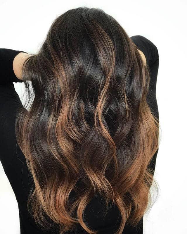 Dark Chocolate Brown Hair with Fair Amber Blonde Highlights
