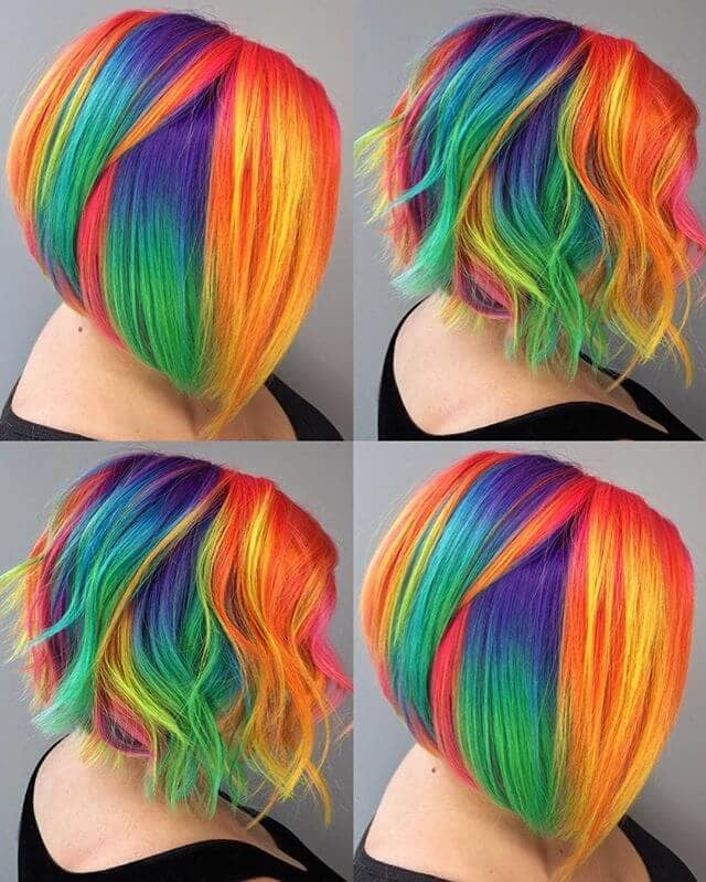 Blunt or Curly Brilliant Chunky Rainbow Angled Bob