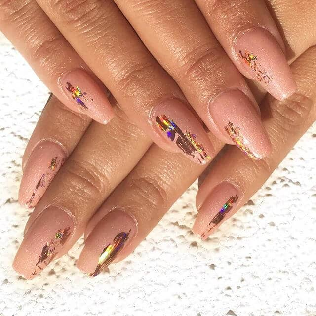 Artsy Barely-There Nails with Rainbow Gilding Cute Nail Idea