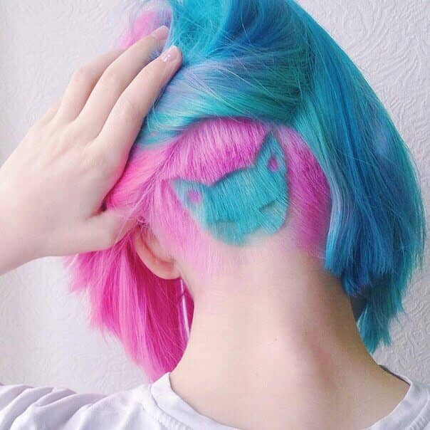 Awesome Neon Pink and Blue Peek-a-Boo Kitty Undercut