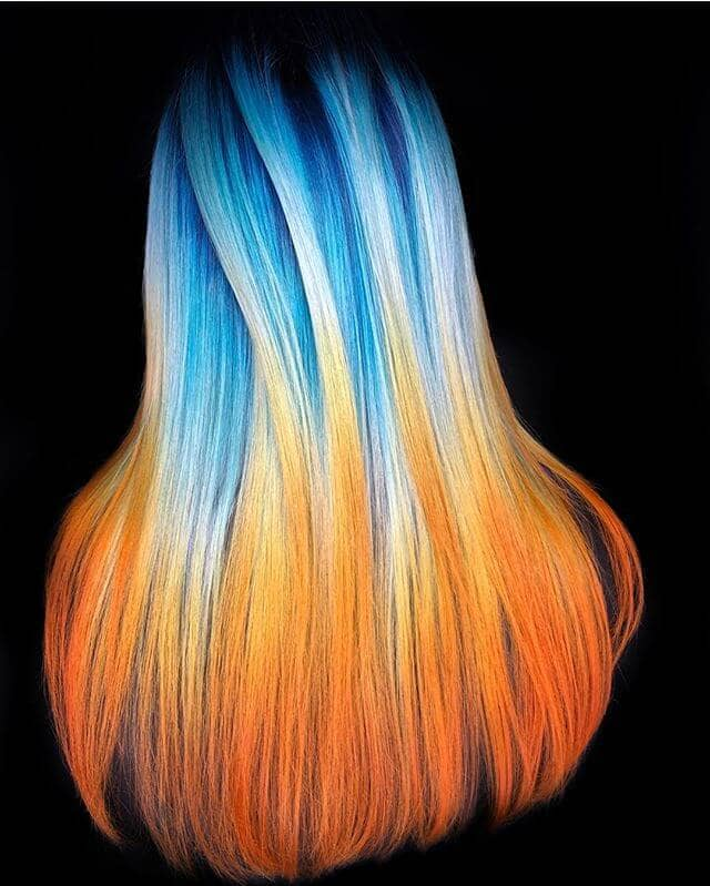 Sky Blue Fade to Sunset Orange Ombre in Long Layers