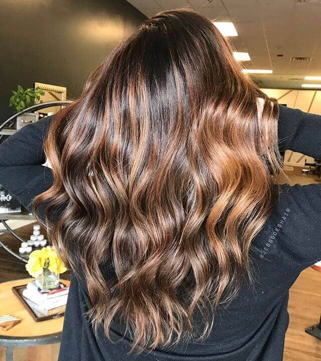 Bright Golden Blonde Highlights in Chocolate Brown Hair