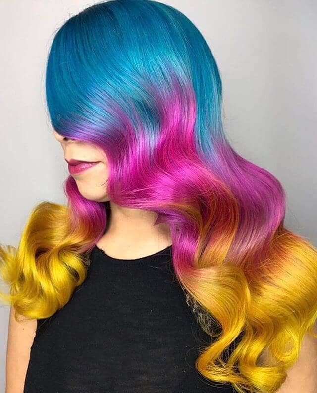 Bold Bayalage from Deep Blue to Bright Orange Curls