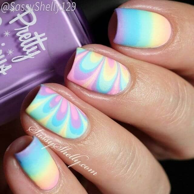 Cotton Candy Over the Rainbow with Flowers Nail Design
