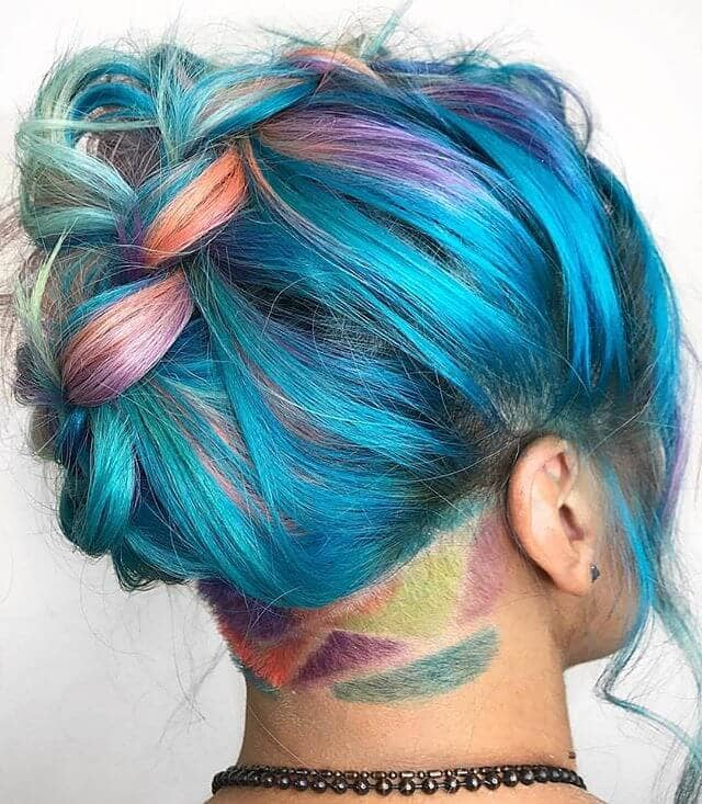 Soft Mermaid Braid with Geometric Rainbow Undercut