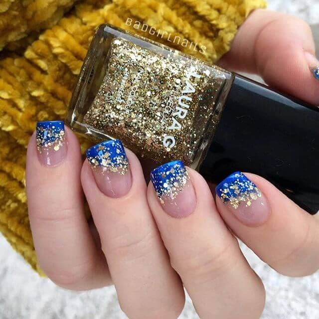 Magical Blue and Gold Confetti Nails