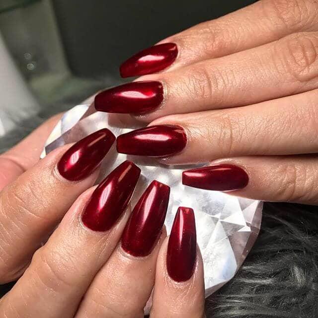 Christmasy Chrome Red Burgundy Nails