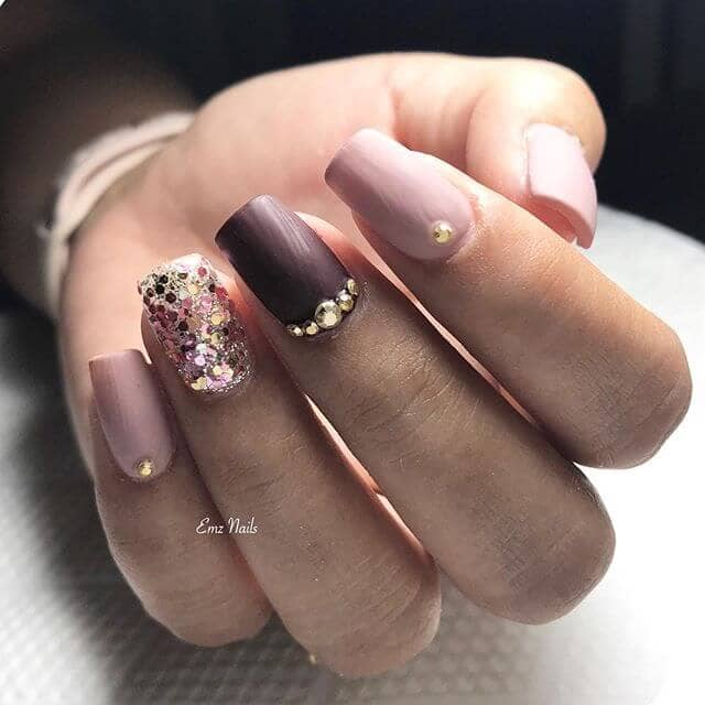 Pink and Plum Accent Nails with Tiaras