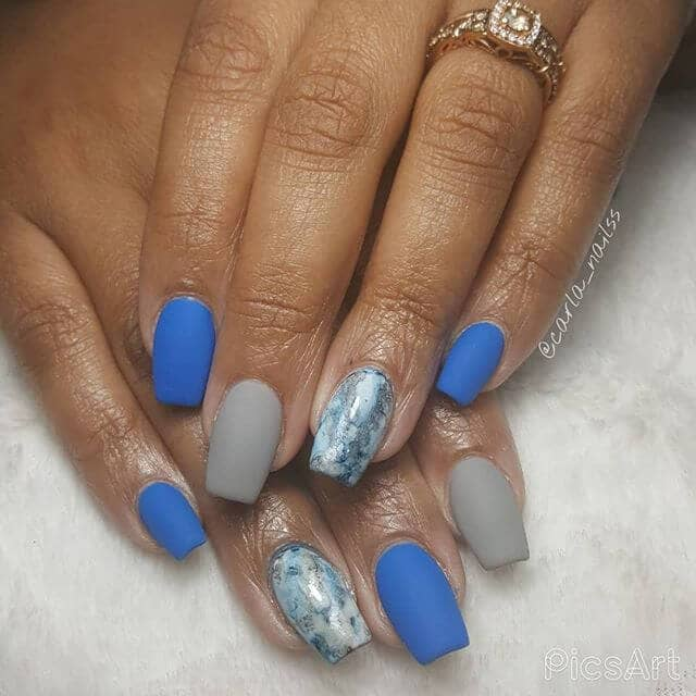 Matte Blue and Gray with Marbled Accent