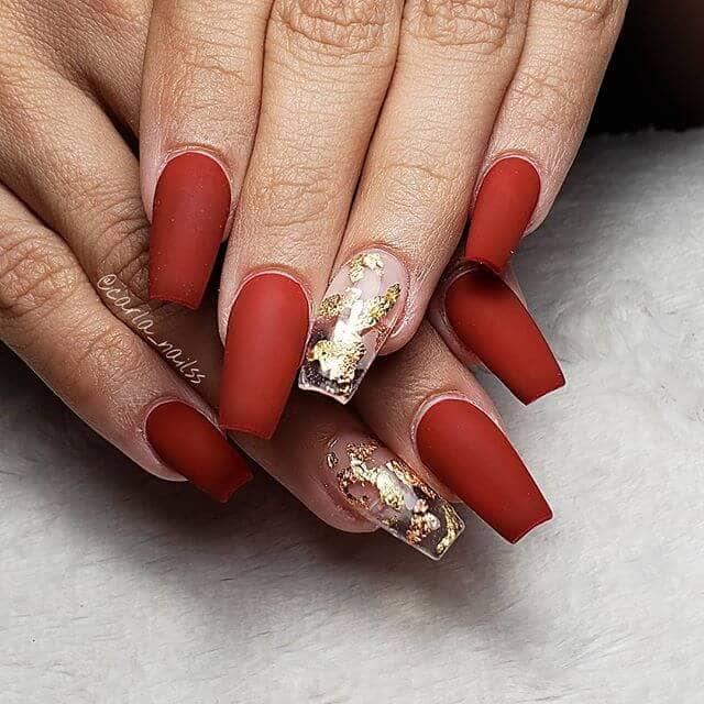 Edgy Matte Gold Foil Nail Design