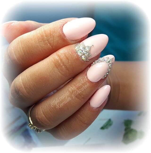 Simple Baby Pink Almond Nails with Tiaras