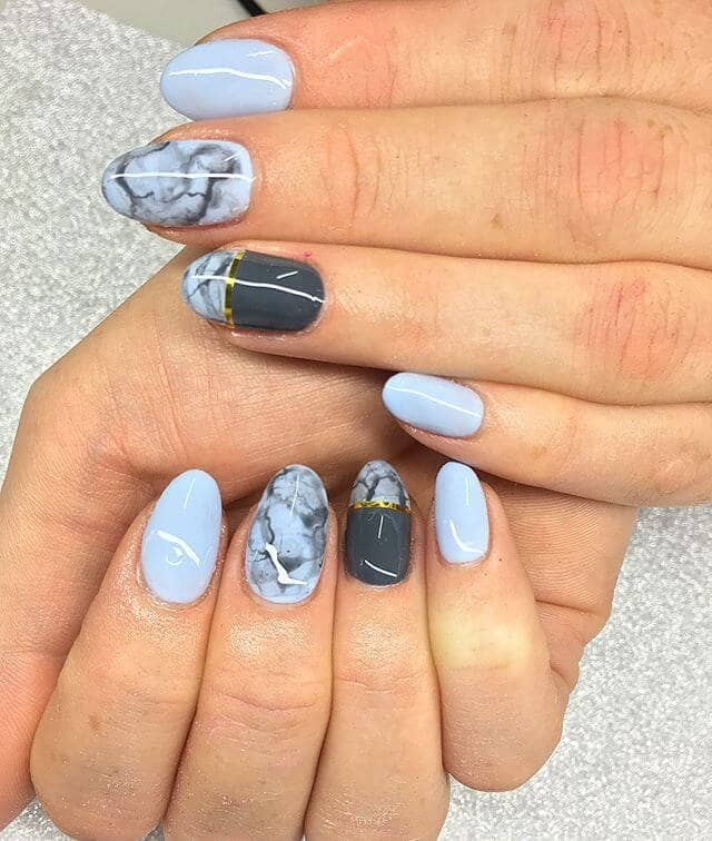 Short Baby Blue Marbled Manicure