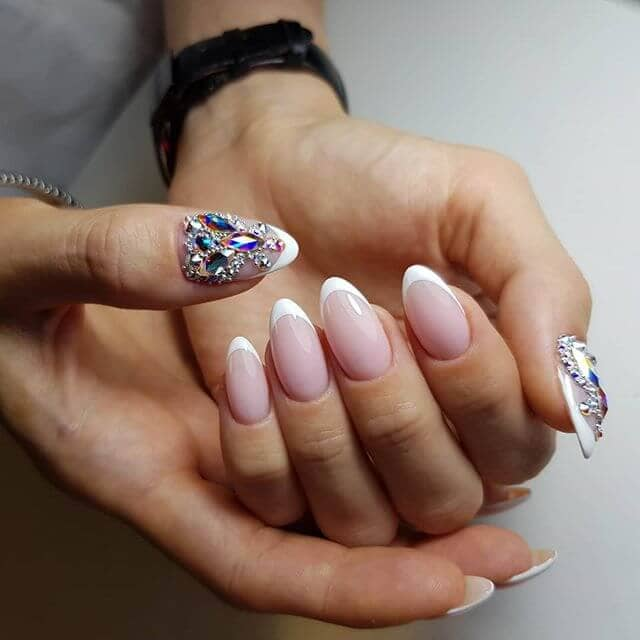 French Tipped Almond Nails with Diamond Thumbs