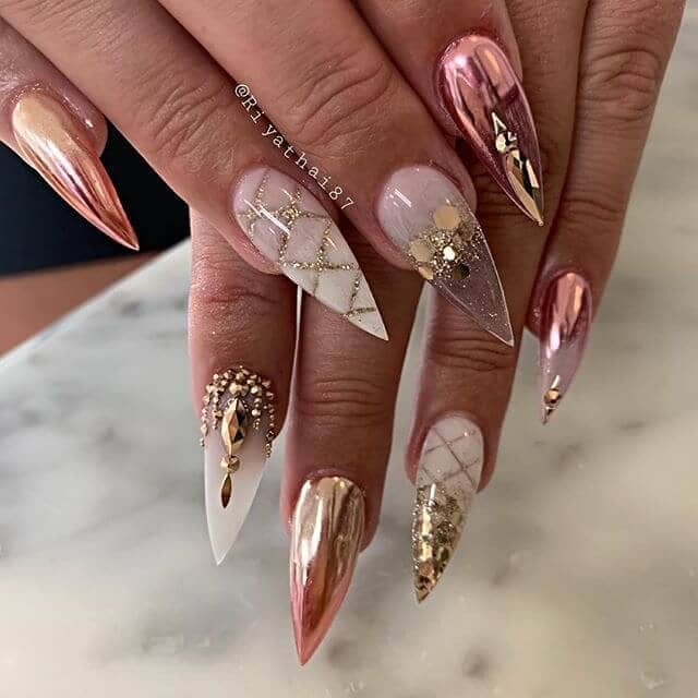 Metallic Pink Nails with Gold and Diamonds