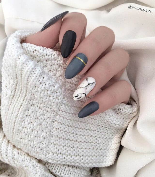 Simple and Soft Long Grey Nails