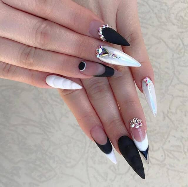 Black and White Nails with Pearls and Diamonds