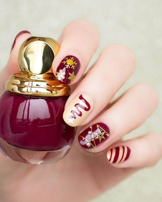 Holiday Gold and Burgundy Nail Ideas