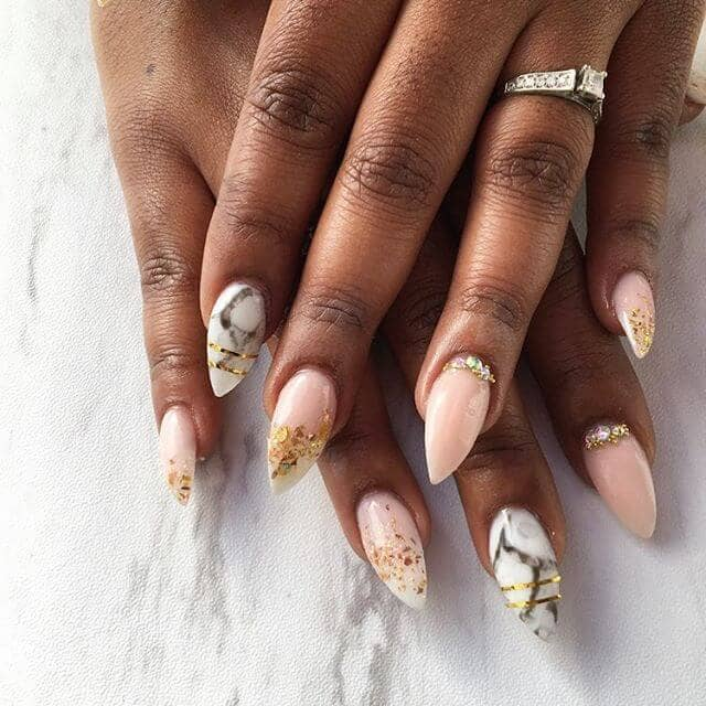 Pink Polish and Gold Leaf Marble Nail Idea