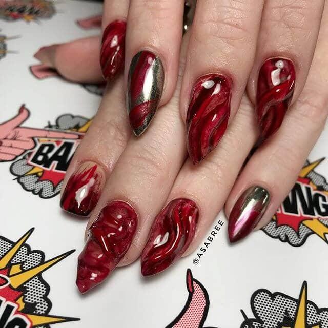 Burgundy Unicorn Nails and Gold Chrome