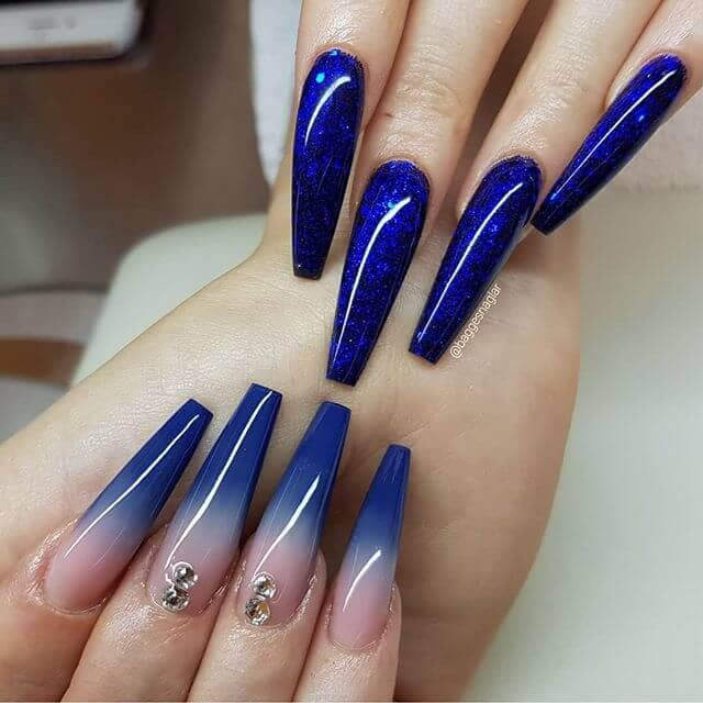 Two Blue Nail Designs in One