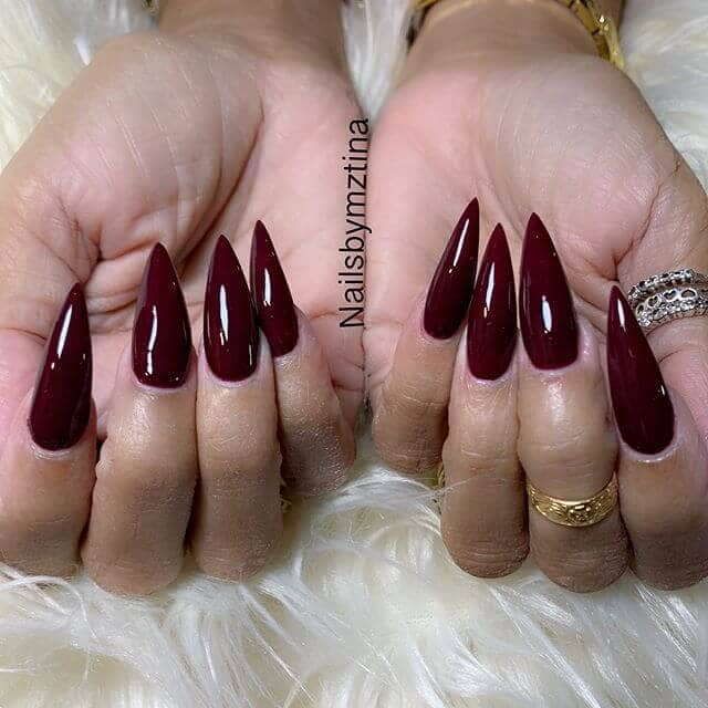 Deep Red Burgundy Claw Nails