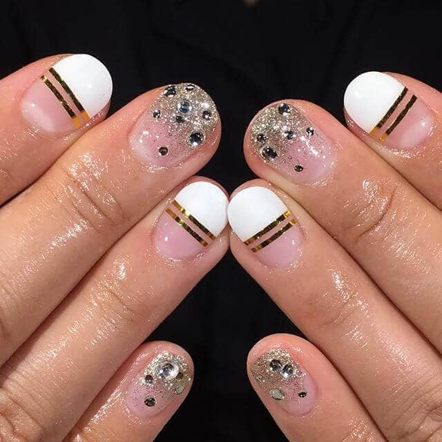 Diamond Tipped Round Nails with Gold