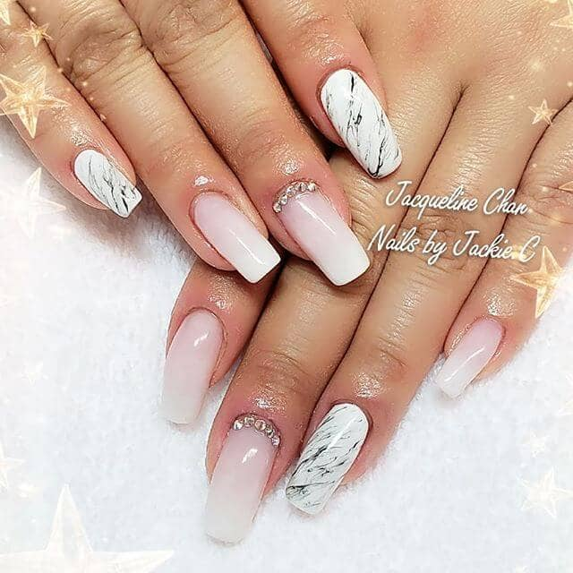Classy Pink and White Ombre Nail Design