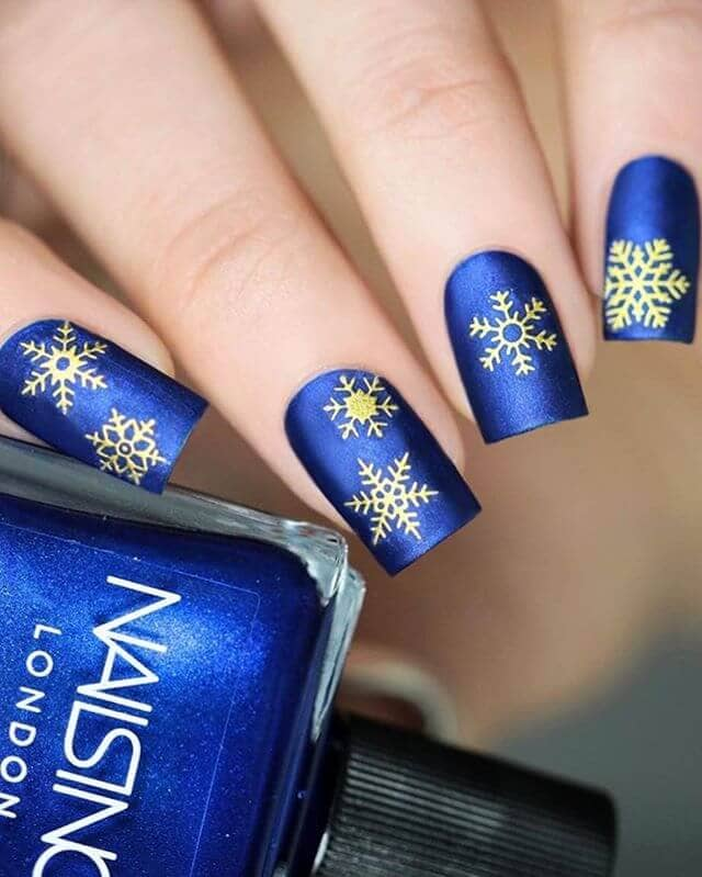 Bright Winter Blue and Golden Decorative Snowflakes
