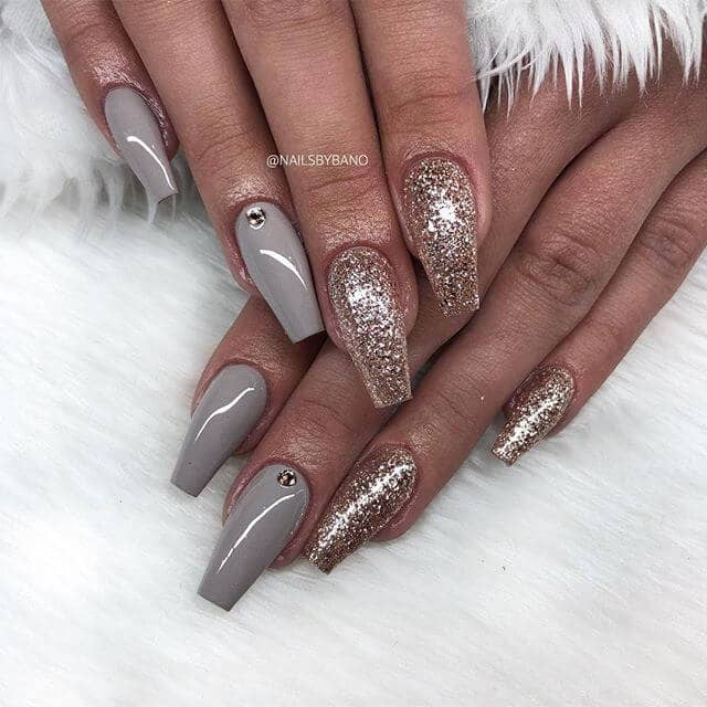 Grey and Glittered Ballerina Nails with Diamonds