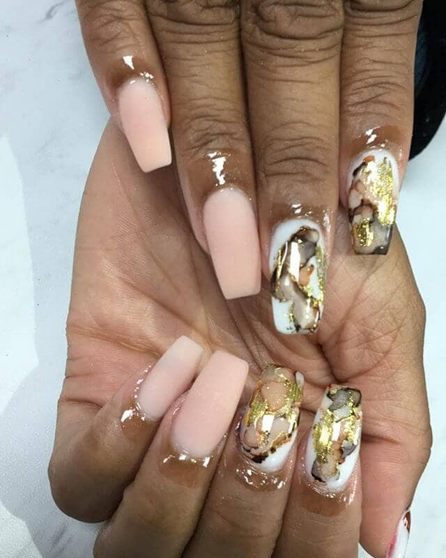 Gemstone Inspired Marble Nail Manicure