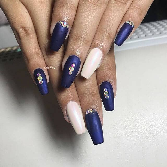 Matte Royal Blue and White Studded Nails