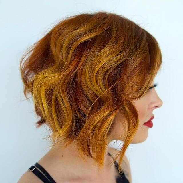 Gorgeous Flame-Colored Short Wavy Hairstyle