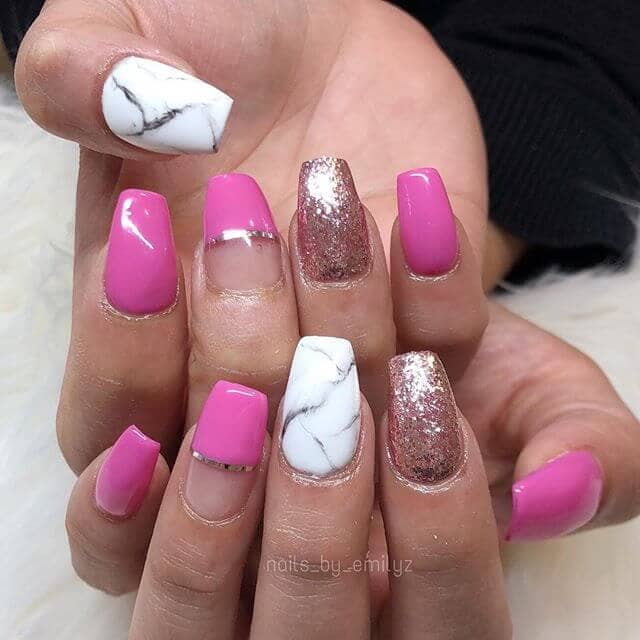Color Block Pink and Gold Nail Art