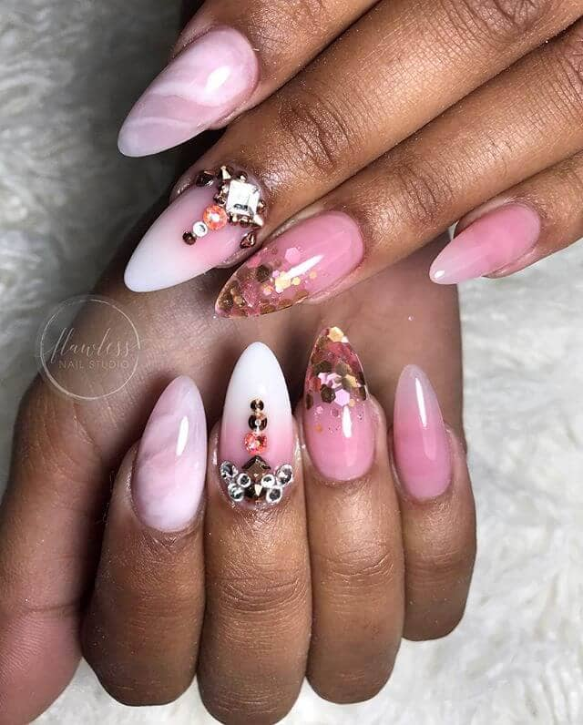 White and Pink Ombre Nails with Multicolors
