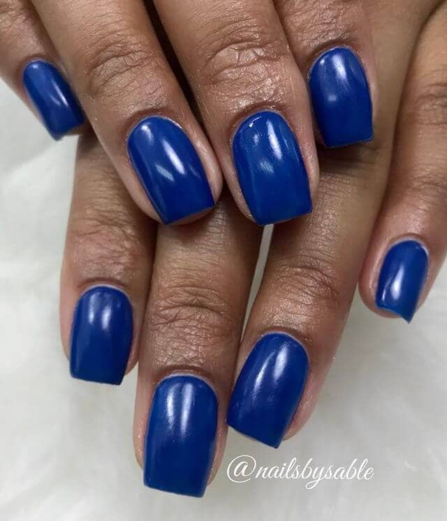 Simple Square Cut Solid Blue Nails